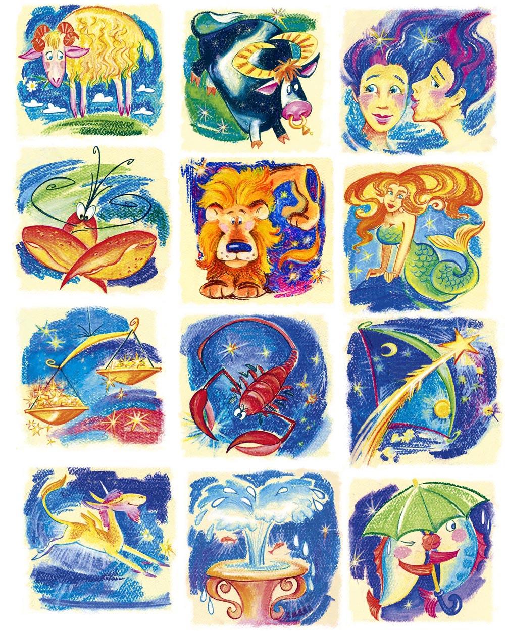 Знаки зодиака рисованные картинки