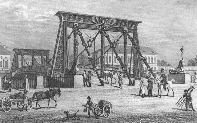 Египетский мост в Санкт-Петербурге на Фонтанке