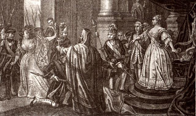 государственный переворот, в результате которого императрицей стала Елизавета Петровна, дочь Петра I