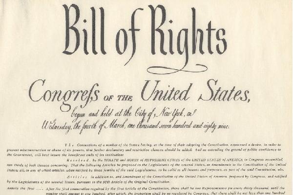 Вступили в силу первые 10 поправок к Конституции США — «Билль о правах»