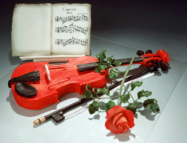 Ноты, скрипка, роза