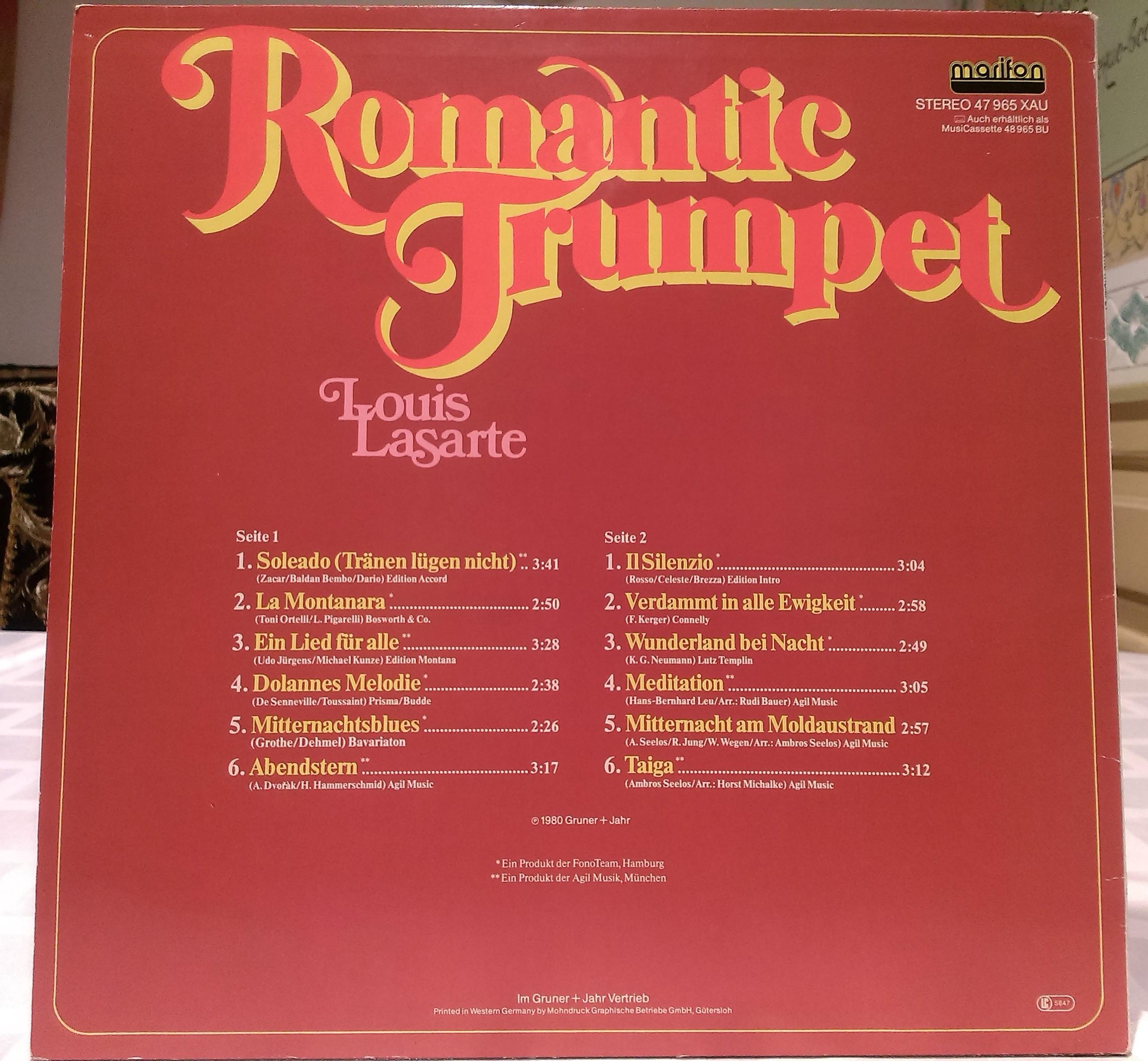 Louis Lasarte - Romantic Trumpet 1980 LP MARIFON 47 965 XAU back