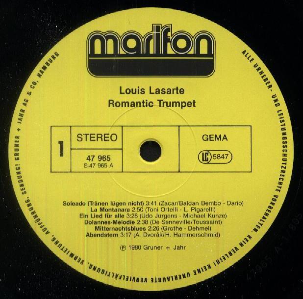 Louis Lasarte - Romantic Trumpet 1980 LP MARIFON 47 965 XAU Side 1