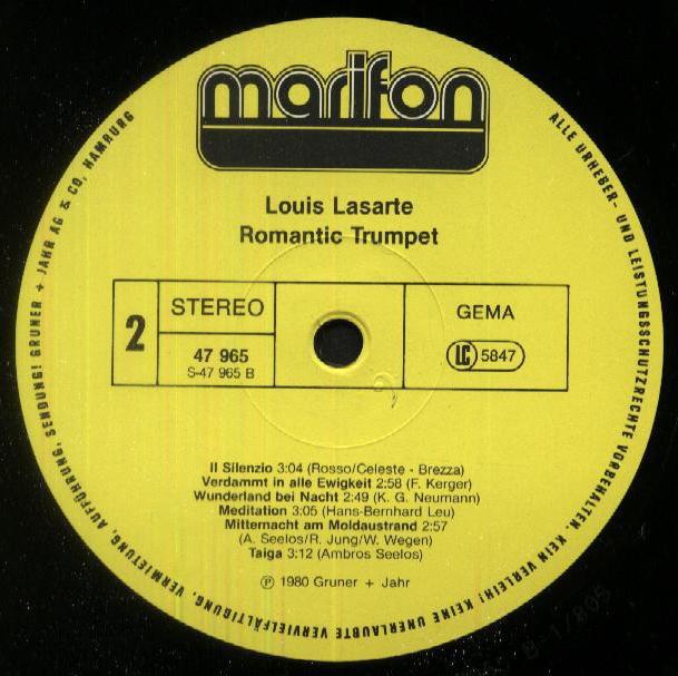 Louis Lasarte - Romantic Trumpet 1980 LP MARIFON 47 965 XAU Side 2