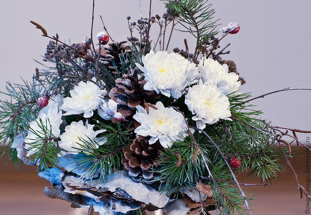 Зимний букет цветов на день рождения, каких