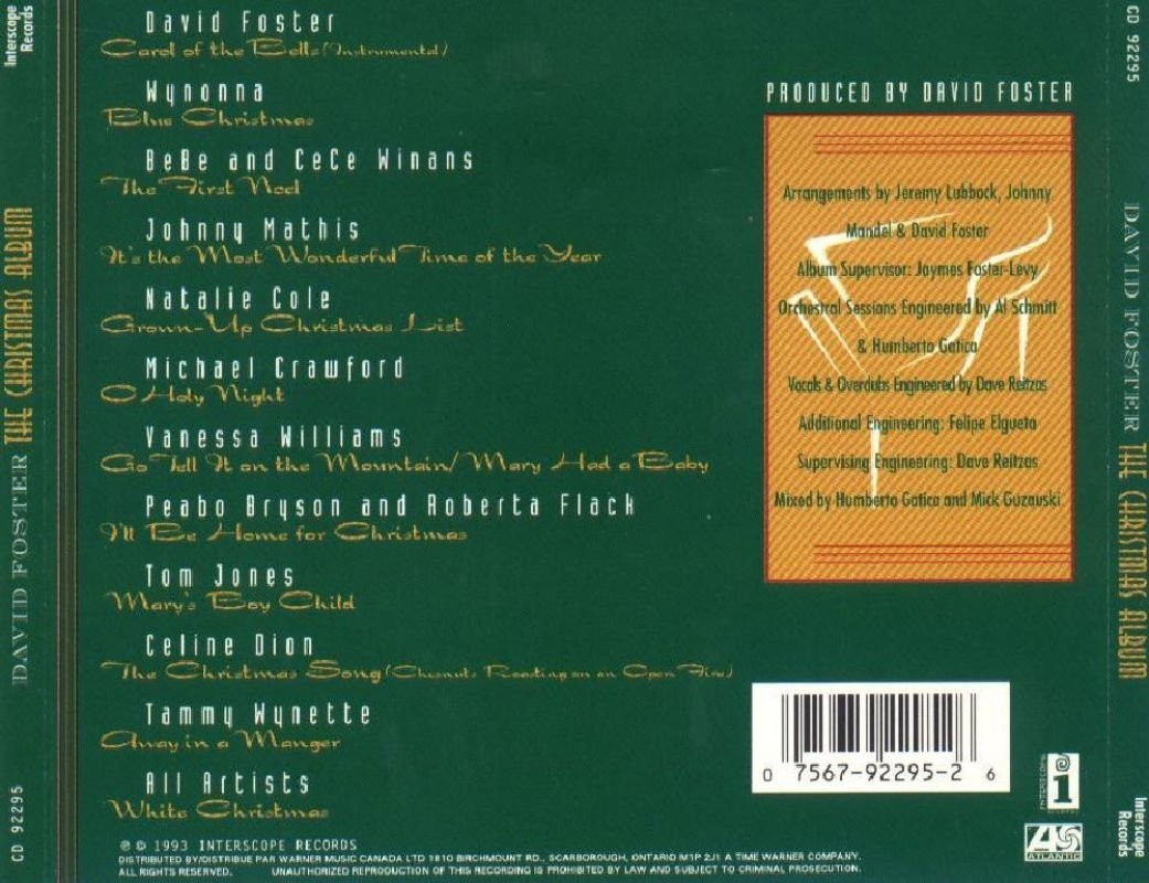 David Foster - The Christmas Album 1993. Soundtrack, Modern ...