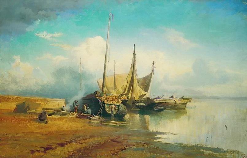 Ф. А. Васильев. Вид на Волге. Барки. 1870