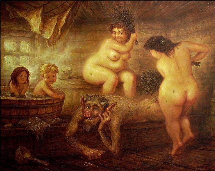 Бабушка моется в бане фото 511-917