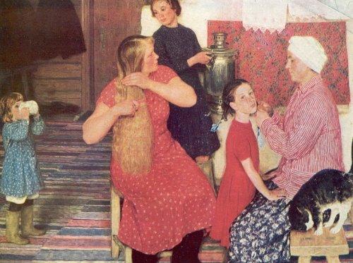 Русские художники » Кугач Юрий Петрович - После бани (название моё).