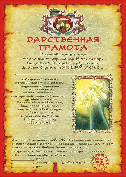 13. Дарственная грамота на духовное совершенство