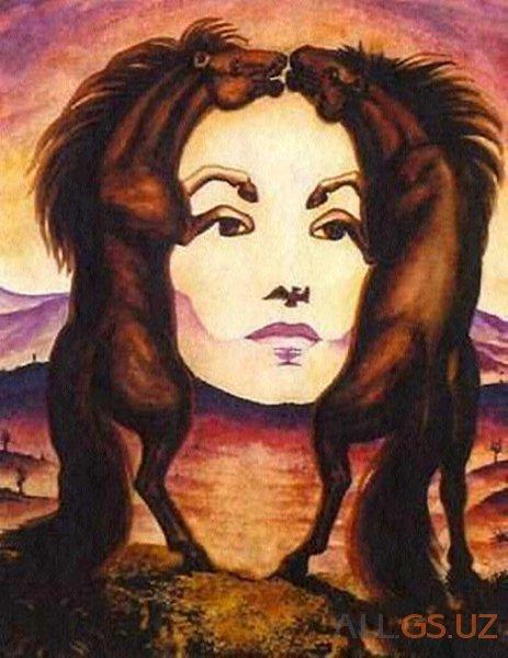 Женское лицо или кони