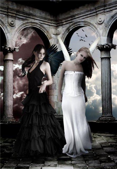 чёрный и белый ангел картинки