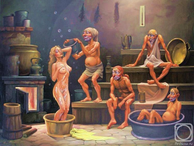 Подсмотренно банный день в деревнях