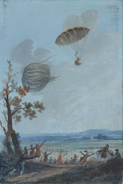 Франсуа Бланшар продемонстрировал сконструированный им парашют