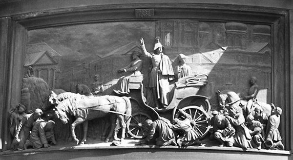 Николай I на Сенной площади во время холерного бунта 1831 года