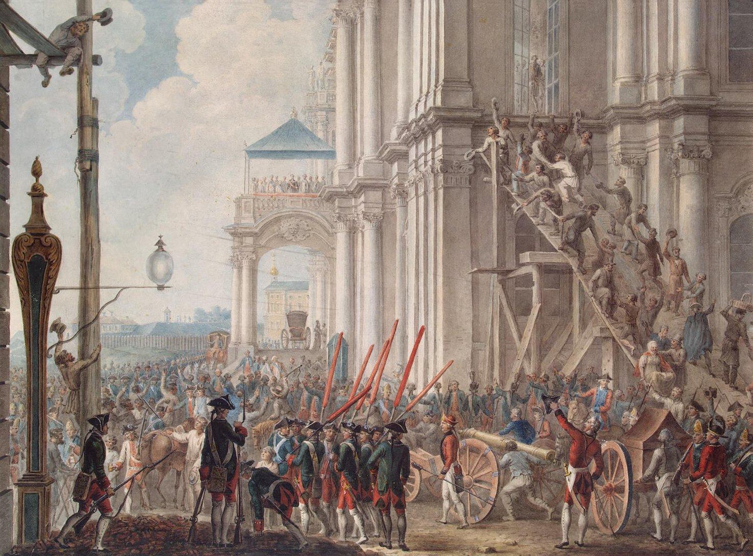 Екатерина II на балконе Зимнего дворца, приветствуемая гвардией и народом в день переворота.
