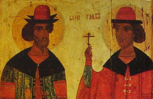 Мученики-страстотерпцы- благоверные князья Борис и Глеб Псковская икона XIV век (Русский музей)