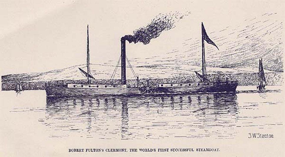 1807 года шотландец Роберт Фултон в гавани Нью-Йорка продемонстрировал первый пароход.