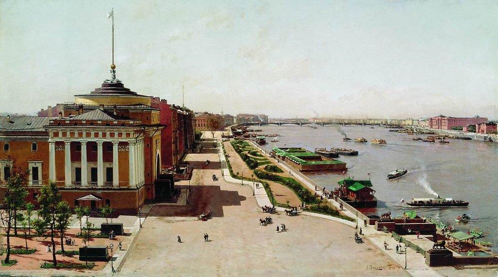 Беггров А. К., Вид на Неву от Зимнего дворца. 1881 год