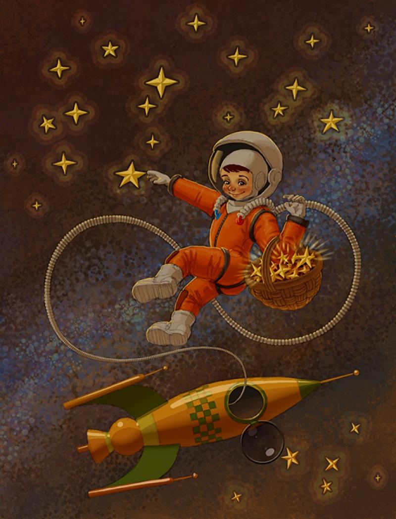 Подруге, открытка про космос на день рождения