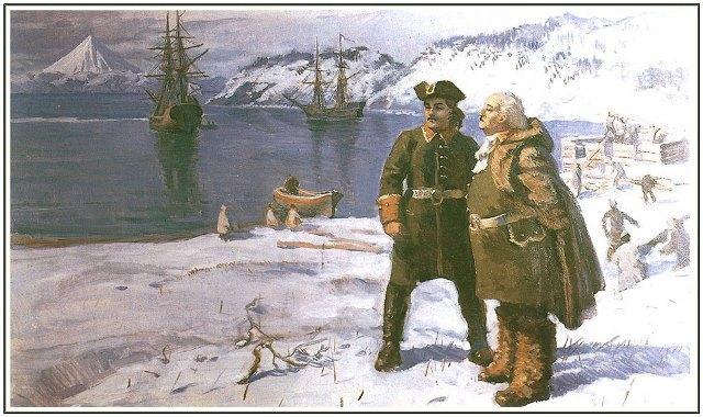 А. Чириков и В. Беринг на берегу Авачинской бухты на месте основания будущего Петропавловска